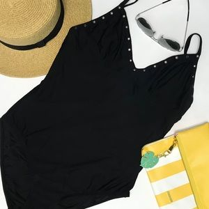 J.CREW Grommet V-Neck One-Piece Swimsuit